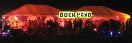 Duck Pond Burning Man Camp at night