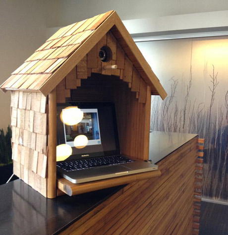 Twitter birdhouse kiosk